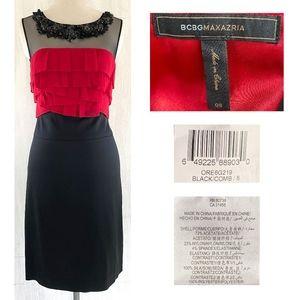 BCBG Beaded Mesh Red Silk +  Black Stretch Dress